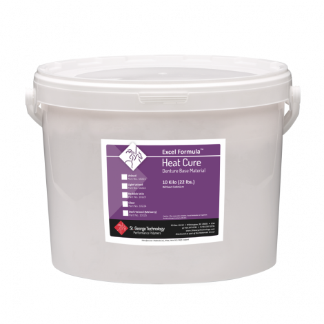 Excel Formula Heat-Cure Denture Base Material Powder Only, 10 Kilo Drum (22 lbs), Dark Veined (Meharry)