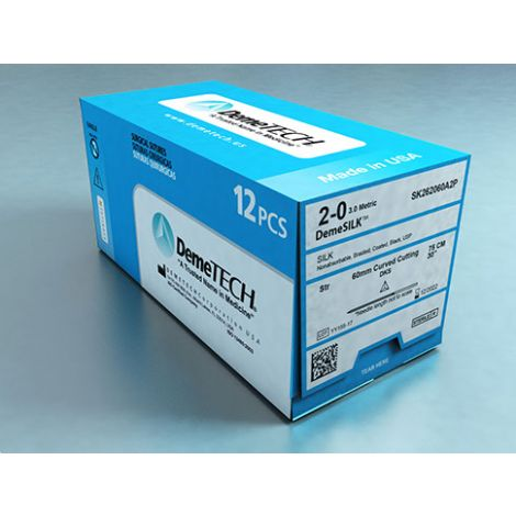 "DemeSILK Sutures 4-0 18"" 3/8 12mm, Pk/12"