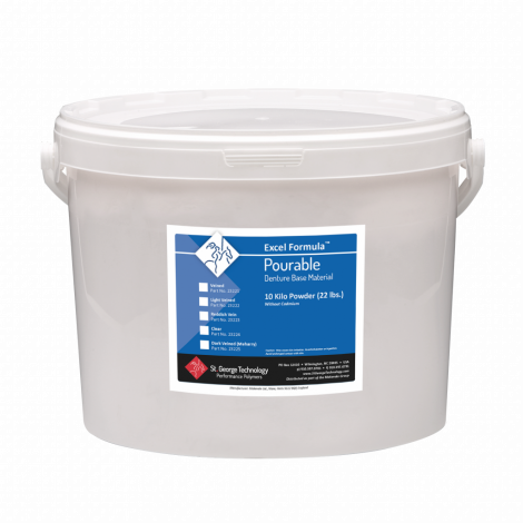 Excel-P Formula Pourable Denture Base Material Powder Only 10 Kilo Drum (22 lbs), Clear