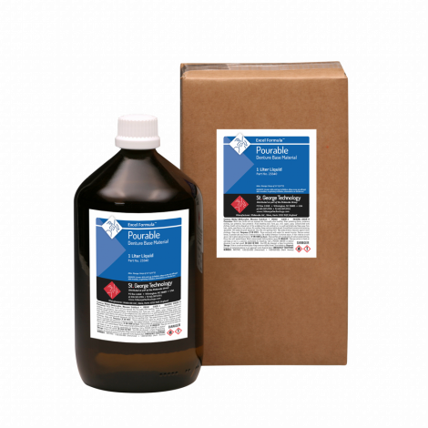 Excel-P Formula Pourable Denture Base Material Liquid Only, 5 x 1 Litre (1.32 Gallons)