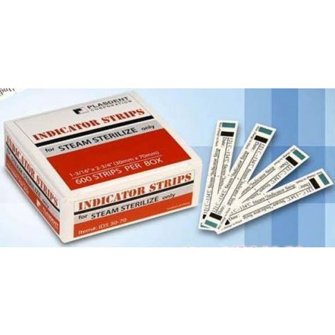 "Indicator Strips, 1 3/16"" x 2 3/4"", Steam Sterilization (600pcs/box)"