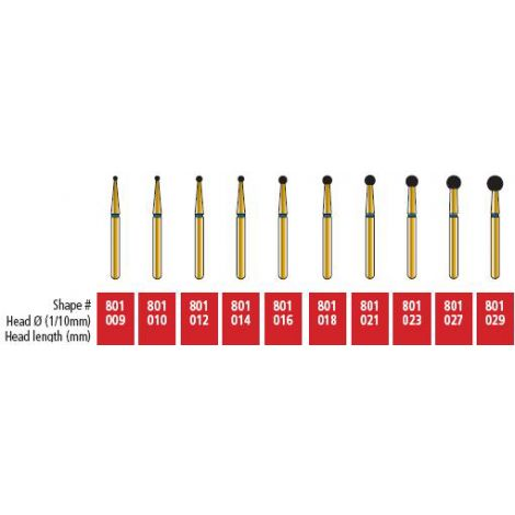 Round Diamond Burs 801-029 Super Coarse Pk/5