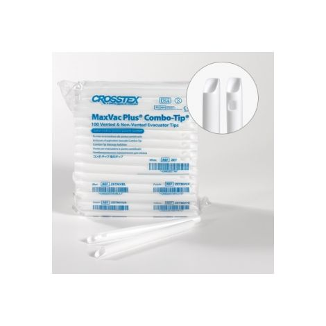 Slotted Evacuation Tips White - Vented, case of 20 bags - 50/bag