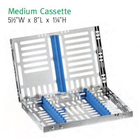Medium Cassette, SS Removable Top (Nordent)