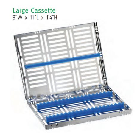 Large Cassette, SS 15/13/10/8 Instruments, Removable Top (Nordent)