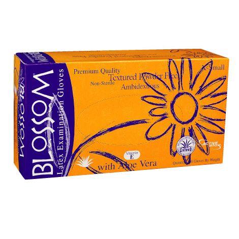 Blossom Powder Free Textured Latex Exam Gloves with Aloe Vera + Vitamin E (Mexpo)