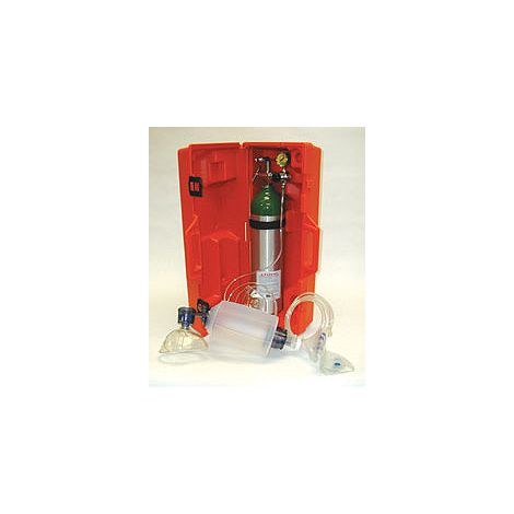 Emergency Resuscitation Kit 1528BE (1502E Aluminum Cylinder, 1441 fixed flow reg. (6 LPM avg.), 1432 manual resuscitator, mash and tube, 1500A carrying case, empty)