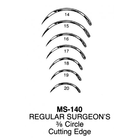 Regular Surgeon's Needles, 1/2 circle, cutting edge, #2