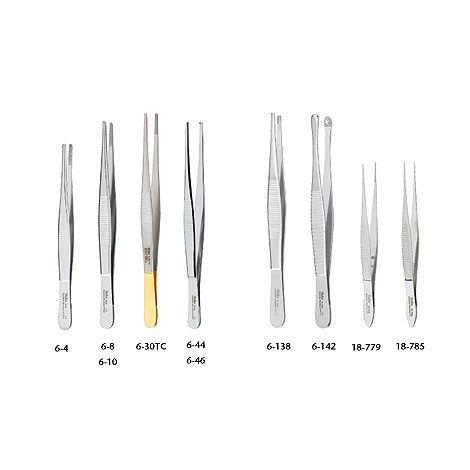 "Tissue Forceps 1 X 2 teeth, standard pattern serrated handles, 6"" (15.2 cm)"