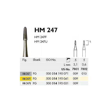 FG 7801 X-Fine Round End Taper Finishing Carbide Burs - 12 Blades Pk/5