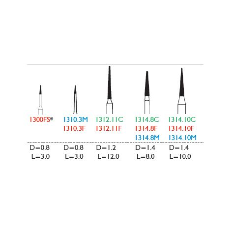 Tapered Point, Needle Disposable Diamond Burs (Meisinger)