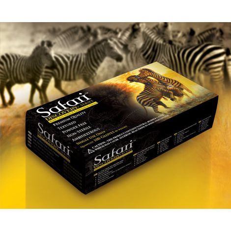 SAFARI® Powder Free Textured Black Latex Exam Gloves (Mexpo)