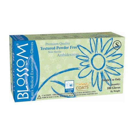 Blossom Powder Free Textured Latex Exam Gloves with C.O.A.T.S., Size XS, 100/box - 10 boxes per case