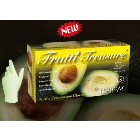 Frutti Treasure Powder Free Avocado Green Textured Soft Nitrile Exam Gloves, Size S, 100/box - 10 boxes per case