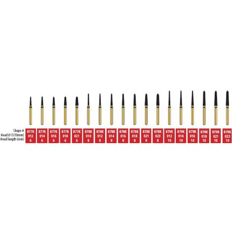 Curettage/Pointed Taper Diamond Burs (Coltene)