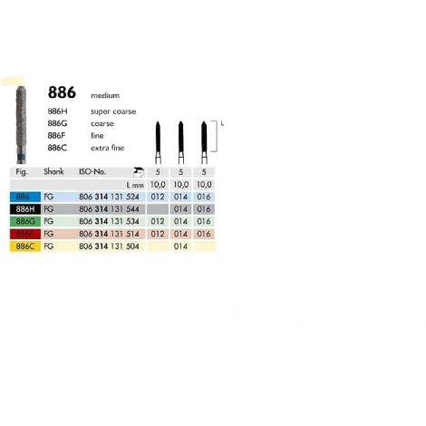 Diamond Burs Bevel Tip Cylinder 886 (Meisinger)