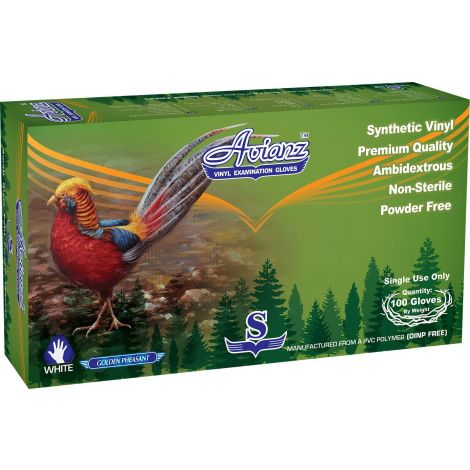 Avianz Powder Free Vynil Exam Gloves Golden Pheasant, Size Large, Color White, 100/box - 10 boxes per case