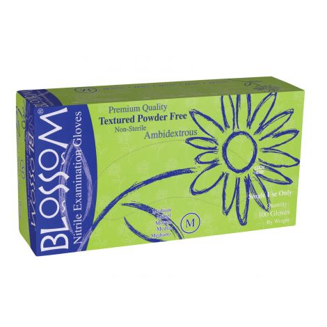 Blossom Powder Free White Nitrile Exam Gloves Size L, 100/box - 10 boxes per case