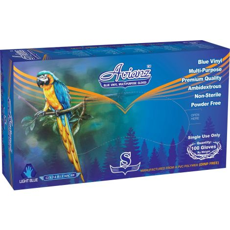 Avianz Powder Free Vynil Multipurpose Gloves Gold & Blue Macaw, Size Small, Color Light Blue, 100/box - 10 boxes per case