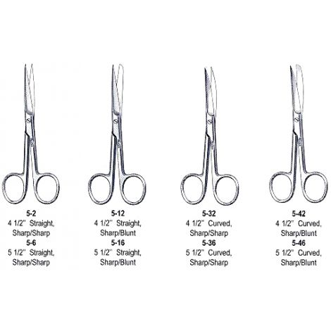 "Operating Scissors 4 1/2"" (11.4cm) Curved Sharp-Blunt Points"