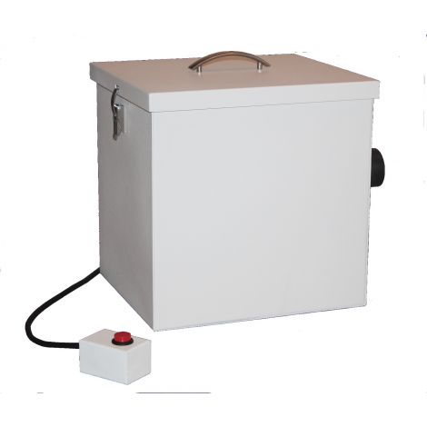 "Model EON AlumOx/Zirc Compatible Dust Collector: 104cfm high power eternity motor, HEPA Class E11 closed bag filter, includes one 2 1/2"" D vacuum hose and one spare filter"