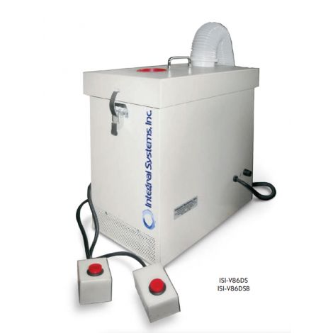 High Flow V86 Series Multi-Station HE Dust Collector: 200cfm, w/two 6ft corded switches, one vacuum hose, one spare filter, NO AlumOx/Zirc