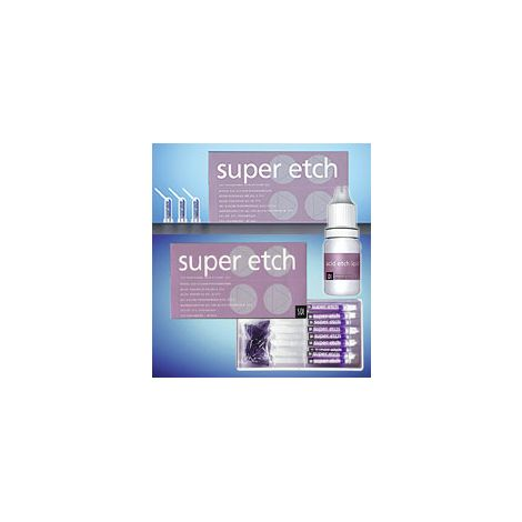 Super Etch Jumbo Kit: 2 x 25mL Super Etch gel Syringes, 2 Empty 3mL Syringes, 1 Syringe Connector, 50 Disposable Tips